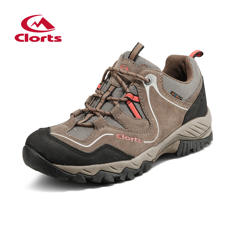 Clorts Men Hiking Shoes Genuine Leather Cow Suede Waterproof Outdoor Trekking Shoes Rubber Sport Sneakers HKL-826A/D clorts women hiking shoes outdoor trekking shoes waterproof lace up mountain shoes suede leather female climbing shoes hkl 826e