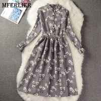 Mferlier Mori Girl Autumn Winter Floral Print Vintage Dress Stand Collar Flare Sleeve High Waist Pleated