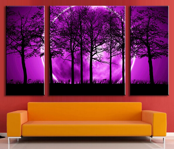 3 panel de pared pintura decorativa del cuadro pintura del arte pintura en la lona p rpura - Pinturas decorativas paredes ...