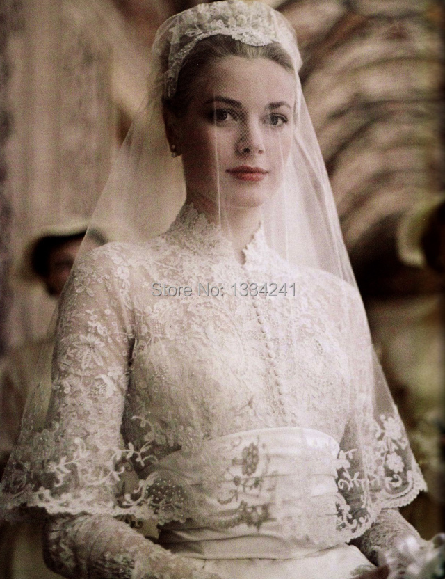 Vintage 1960s Bridal Gowns Winter High Collar Lace Long Sleeve Monaco Grace  Kelly Wedding Dresses-in Wedding Dresses from Weddings   Events on ... 34ad687bf700