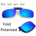 Fold Polarized Clip on Sunglasses clip on glasses square Polaroid Lens Men Women mirror clip Sun Glasses Night Vision Driving