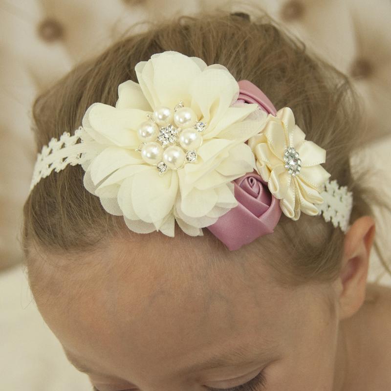 unids bordes festoneados gasa de flores de tela flores diadema hairband del cordn baratos accesorios