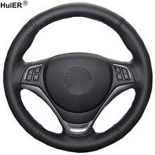 HuiER рук Швейные рулевого колеса автомобиля крышка из микрофибры для BMW X1 2014 2015 стайлинга автомобилей Автомобильный протектор аксессуары для интерьера Запчасти