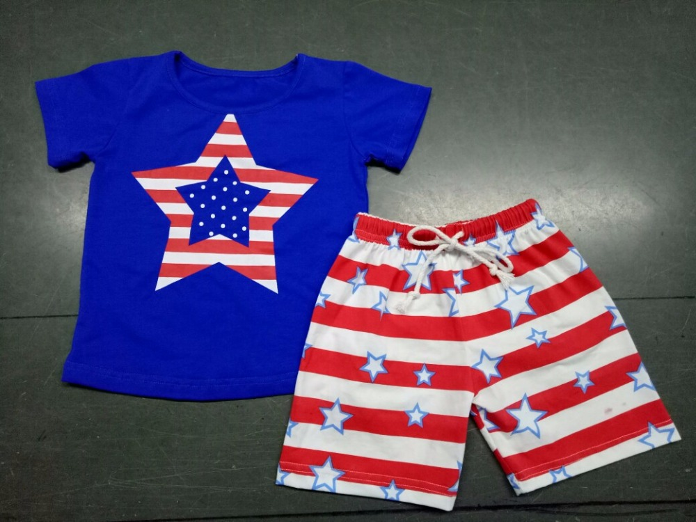 July 4th boys clothing set baby kids summer capri red stripe American flag USA children Patriotic girl clothes boys outfits