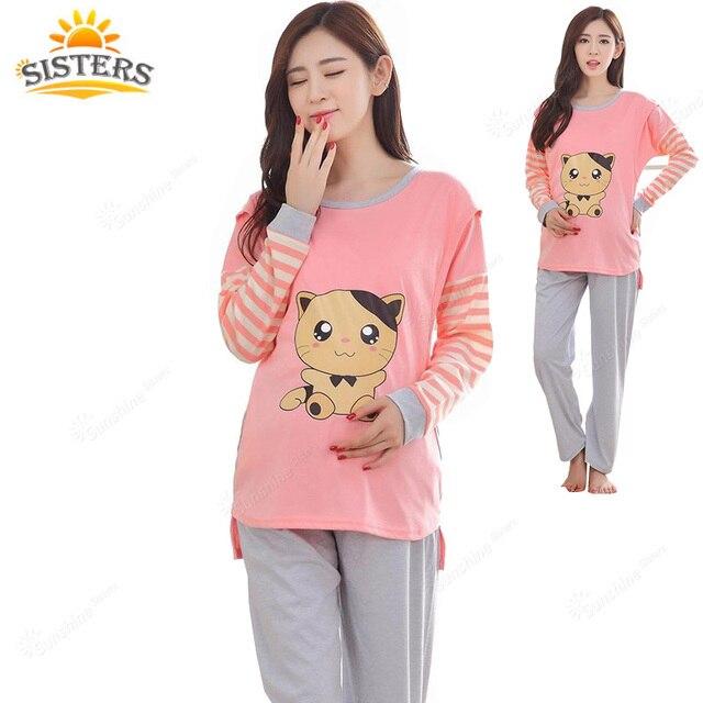 Pajamas Maternity Clothes Top Quality Nursing Clothes  2016 Summer  Sleepwear Pregnant Costumecotton Breastfeeding Mother XXL