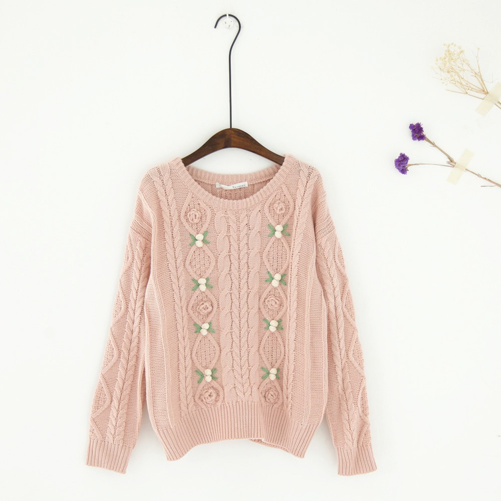 Knitting Sweaters For Girls : Women s cable knit sweater mori girl o neck long sleeve