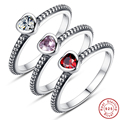 Real  Authentic 100% 925 Sterling Silver Wedding Ring With Crystal Hearts Compatible With Original Fine Jewelry