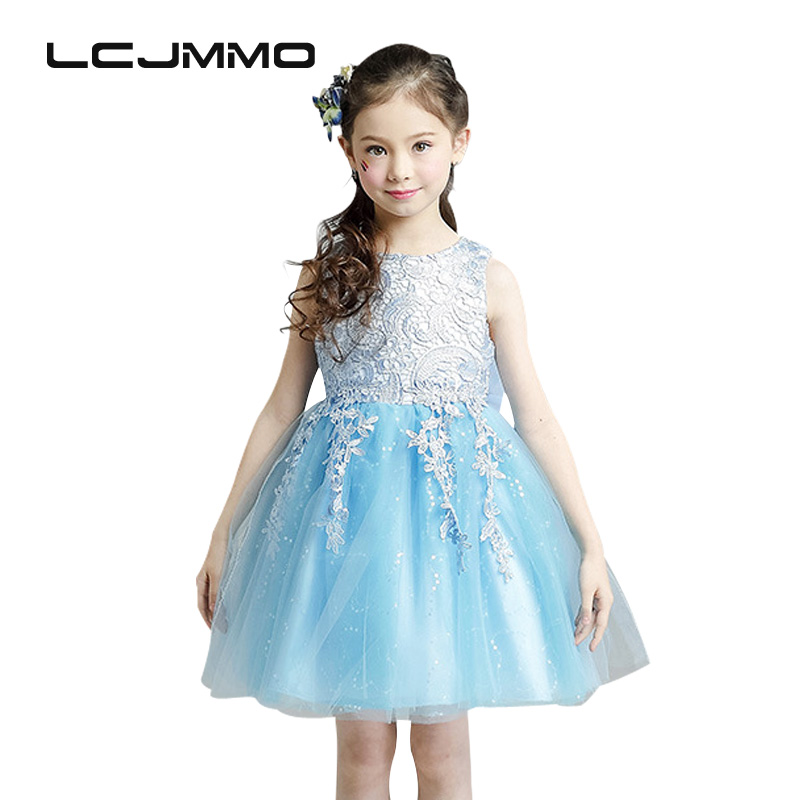 LCJMMO 2017 New Blue Flower Girl Princess Dress Girl Wedding Party Dresses Kids Tutu Bow Clothes For Girls High-end Costume 2-8y new fashion embroidery flower big girls princess dress summer kids dresses for wedding and party baby girl lace dress cute bow