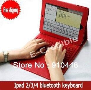 ФОТО Free shipping wireless bluetooth keyboard with PU leather case For ipad2 the new ipad 2 3 4