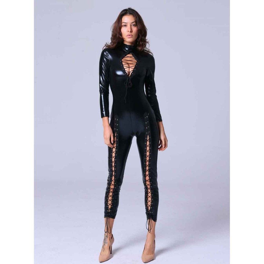 Wet Look Jumpsuit Lace Up Bandage Hollow Out Chest Bust Showing Stand Collar Patent Leather Highlight Eyra Cat Teddies Bodysuit