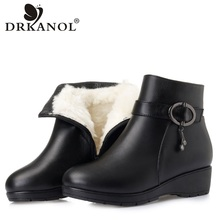 DRKANOL Natural Wool Winter Warm Snow Boots For Women Fur Ankle Boots Black Genuine Leather Waterproof Women Wedge Boots H606