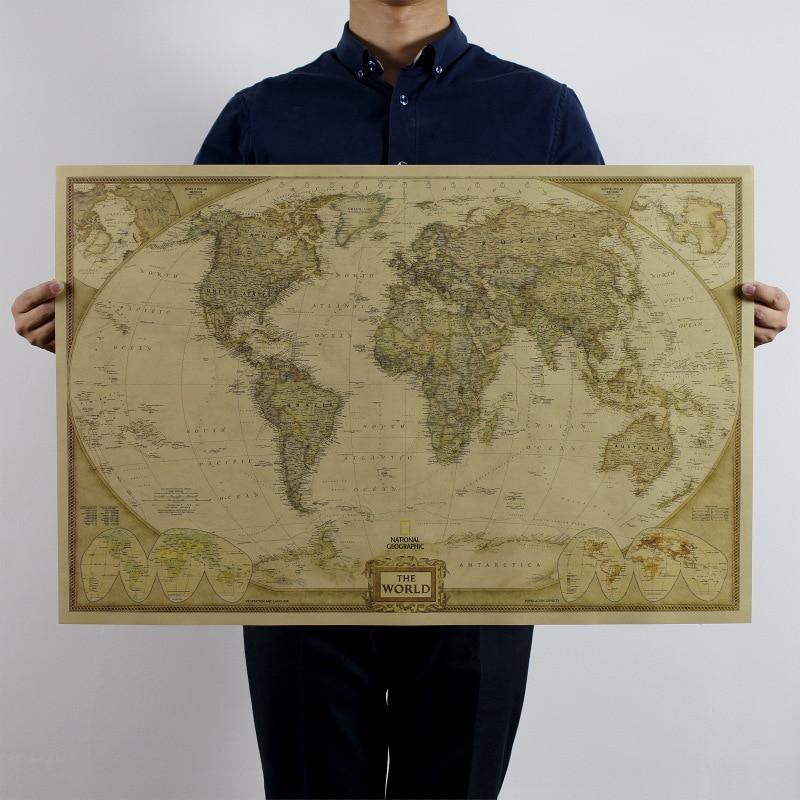 """Velká Vintage """"Mapa světa"""" Domácí dekorace Podrobné Starožitný plakát Nástěnný graf Retro papír Matný Kraft Papírová nástěnná malba 72x47cm"""