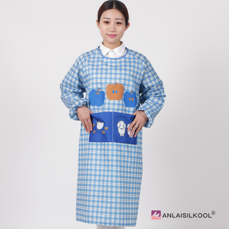 Cartoon Cute Long Sleeved Apron Plaid Household Cleaning Aprons For ...