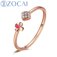 ZOCAI Brand Natural 0.03 CT Diamond Ring with Real 0.008 CT Real Ruby in 18K Rose Gold (Au750) JBW00498