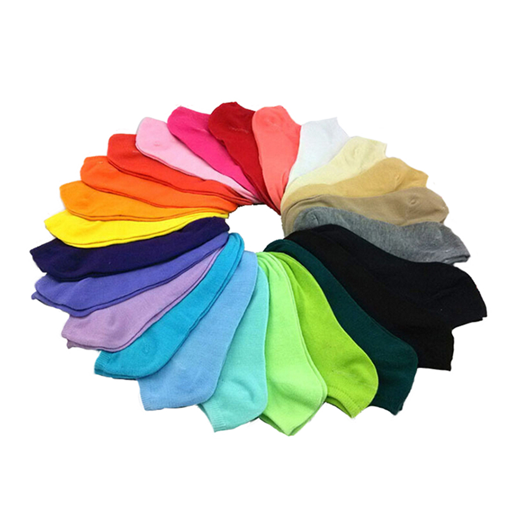 10pcs/5Pair Female Heart Dot Solid Low Cut   Socks   Short   Socks   Women's Slippers Spring Summer Cotton Blend Ankle Boat   Socks