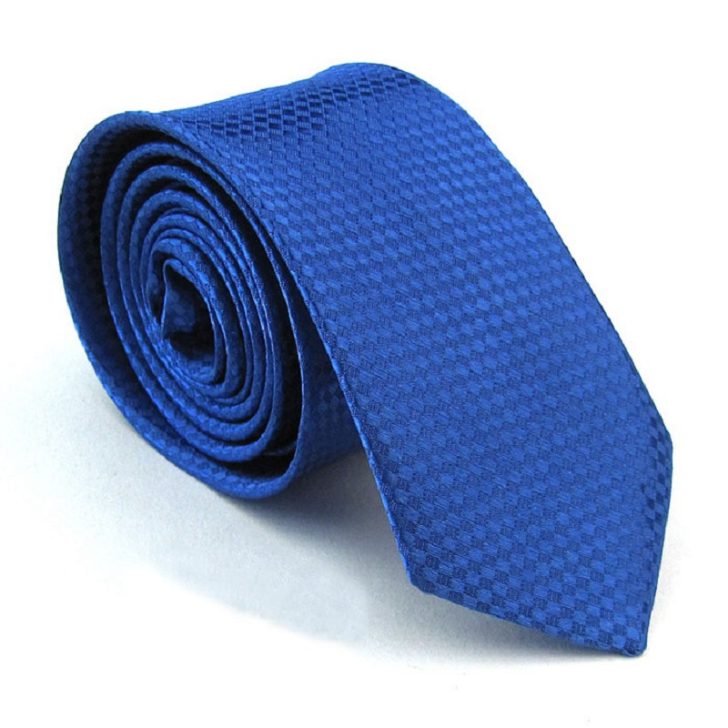 Fashion Slim Tie Royal Blue Narrow Ties For Men Polyester Necktie Wedding Party Gift Cravat Ascot