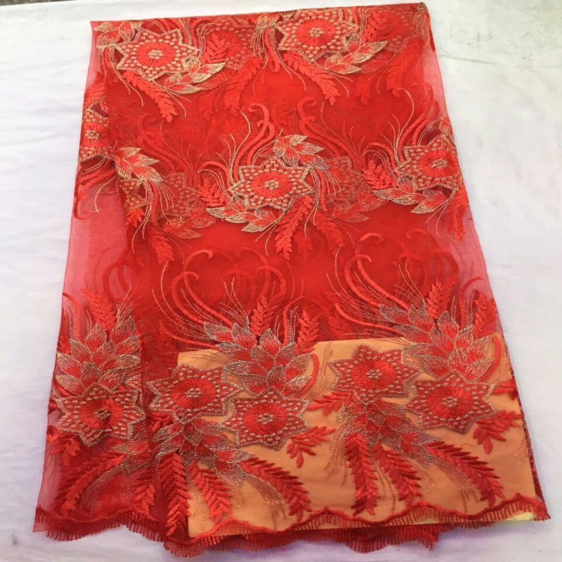 Embroidered new French net lace fabric hot Red color African women pure tulle mesh lace fabric Nigerian material for women dressEmbroidered new French net lace fabric hot Red color African women pure tulle mesh lace fabric Nigerian material for women dress