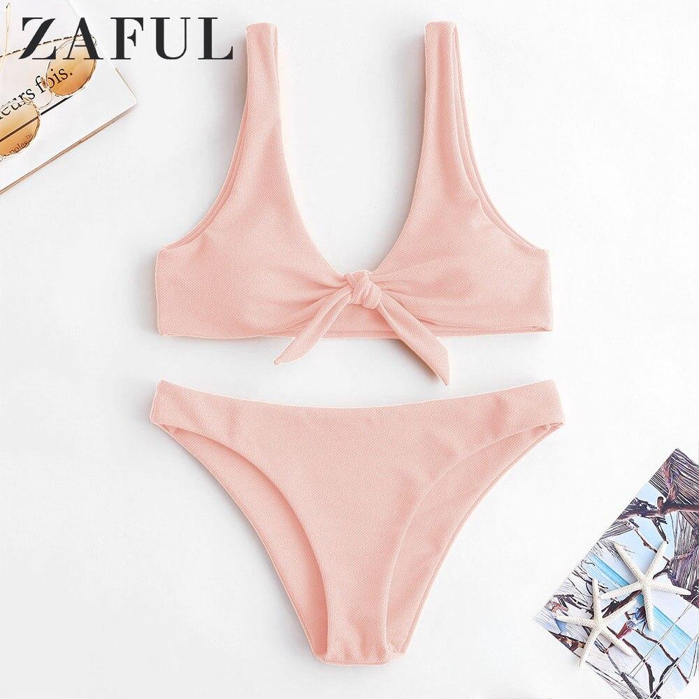 ZAFUL Knot Textured Tank Bikini Set Scoop Neck Low Waisted Swimsuit Basic Women Summer Swimwear Padded Push Up Bathing Suit