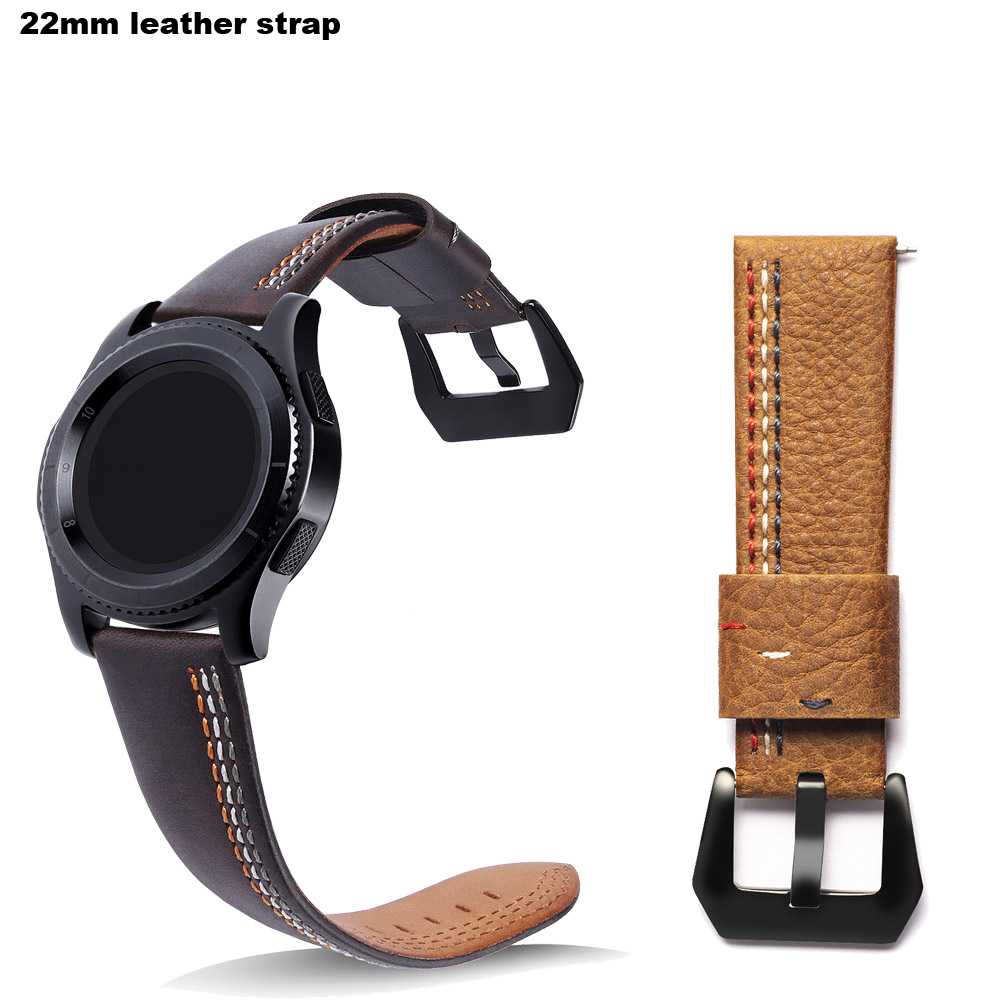 Amazfit Leather Bracelet Watch Band 22mm for Xiaomi Huami Amazfit Pace Stratos 2 Correa Wrist Strap for Samsung Gear Frontier S3 amazfit leather bracelet watch band 22mm for xiaomi huami amazfit pace stratos 2 correa wrist strap for samsung gear frontier s3
