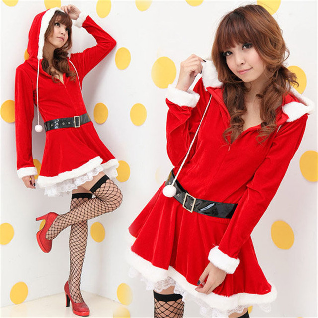 5b6f5f7c51a Christmas Costumes For Women Adult Dress With Hat Belt Suit Female Cos  Christmas Dresses Sexy Sweet Miss Santa Costume