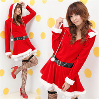 Christmas Costumes For Women Adult Dress With Hat Belt Suit Female Cos Christmas Dresses Sexy Sweet