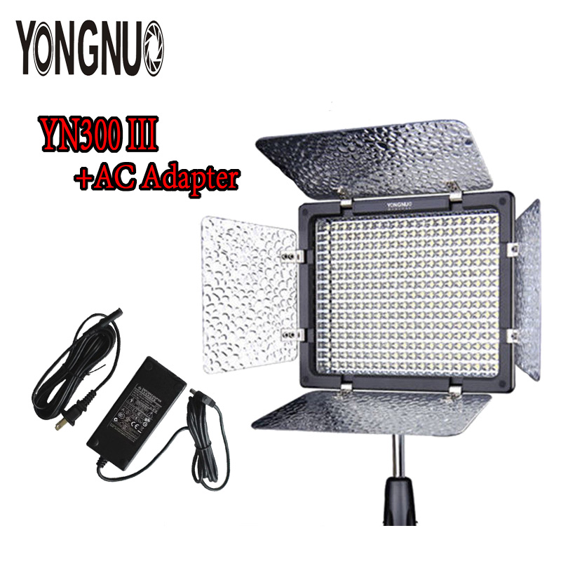 YONGNUO YN-300 YN300 III Adjustable Color Lamp + Pro LED Video Light with Remote Control + AC DC Power Adapter For Canon Nikon yongnuo yn300 iii yn 300 iii yn300 iii pro led video light for dv camcorder canon nikon pentax olympus samsung panasonic jvc