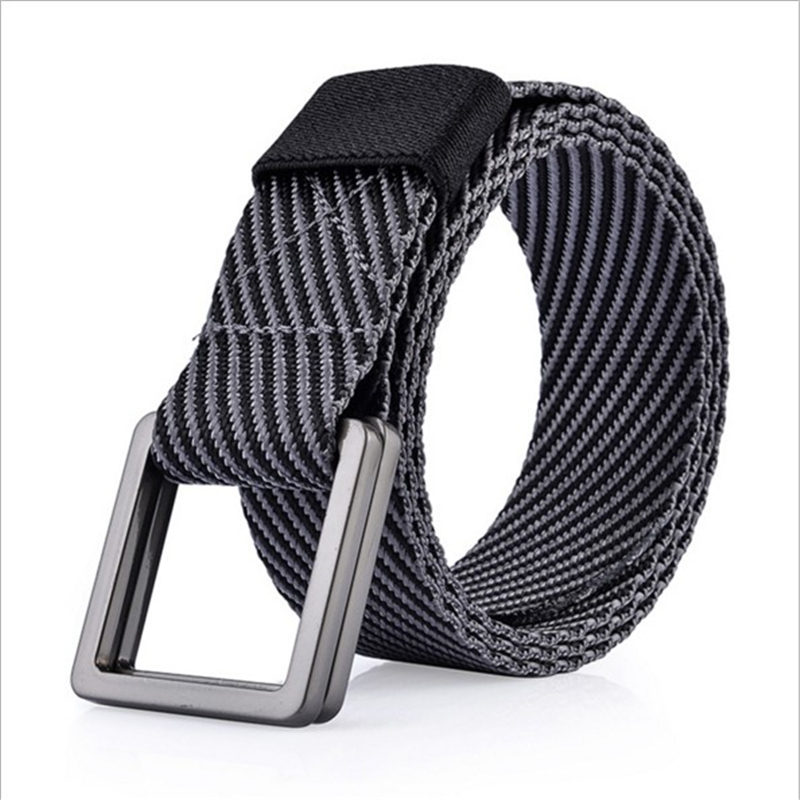 SupSindy Mens Canvas Belt Nylon Stripe Weave Casual Double ring Buckle Men Belt Top designer brand luxury Jeans belts for women