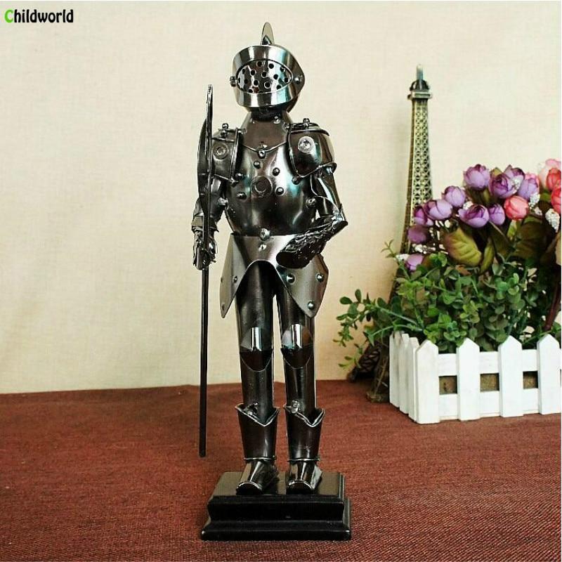 Vintage Mage Samurai Statues Sculptures Series Hand Hold Long Ax Samurai Wrought Iron Handicrafts Home Decorations Figurines