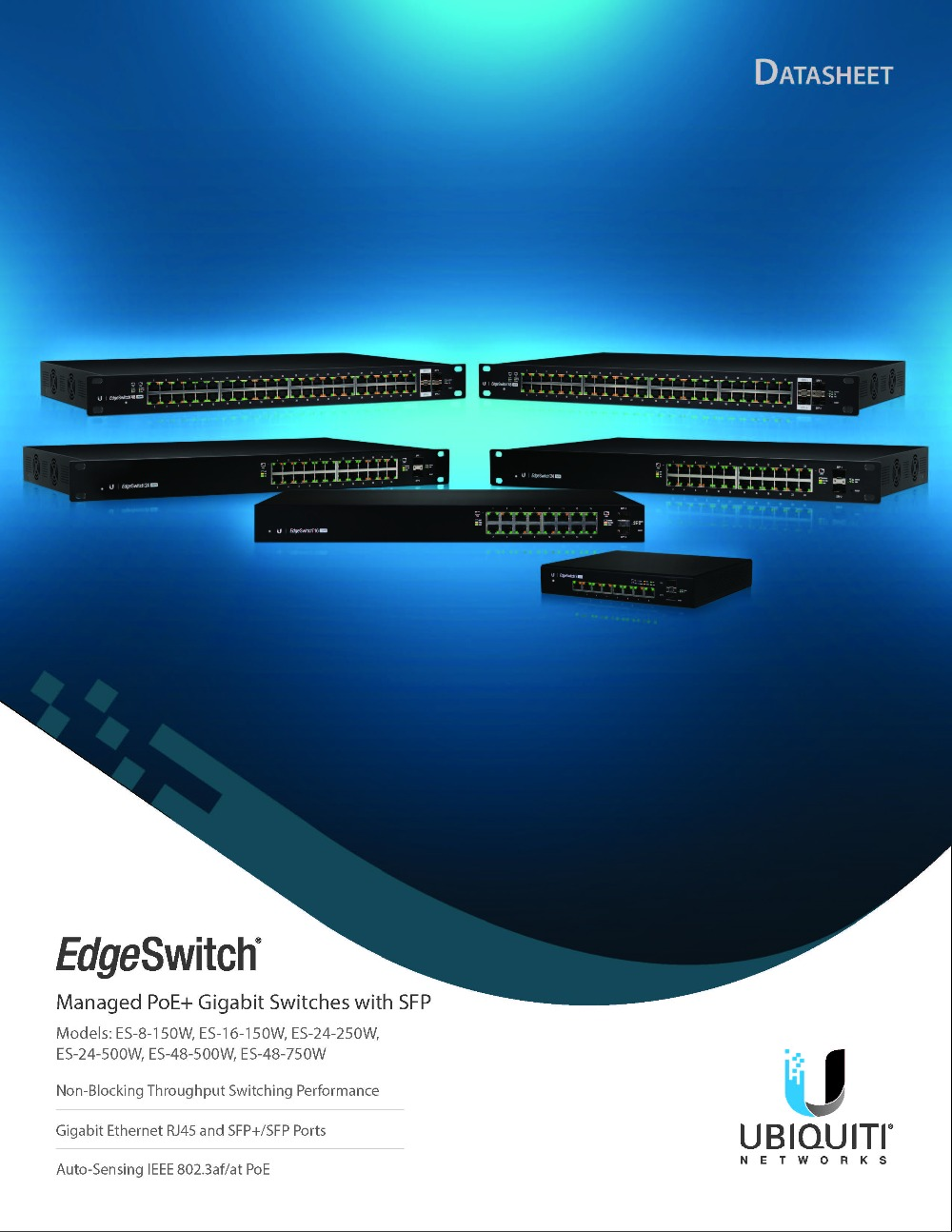 Ubiquiti ES-8-150W Edge Switch 8 PoE Port , 2 SFP Port UBNT Network Managed  PoE+ Gigabit Switch with SFP