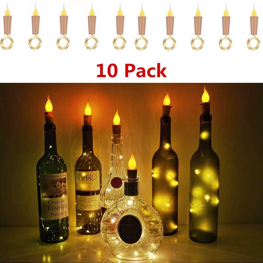 Candle Bottle Lights For Battery Operated Led Flameless Tealight Cork Fairy Mini String Flame Cork Light For Party Wedding Decor Lighting Strings Aliexpress