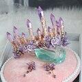 Luxury Purple Bridal Crown Earrings suit Headband Handmade Wedding Hair Vine Tiara Accessories Women Headpiece bridal gold tiara