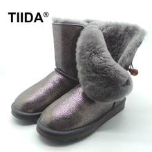 TIIDA Hot Sale Women Snow Boots Fashion Mid-Calf Boots Woman Waterproof Genuine Leather Snow Boots 100% Natural Wool Warm Boots