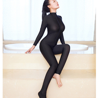 New Sexy Stripe 2 Two Way Zipper Open Crotch Transparent Bodysuit Turtleneck Body Stockings See Through