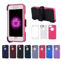 Hybrid Shockproof Zware Case voor iPhone 7 7 + Plus 7 Plus Full Body Dekking Cover Met Build-in Screen Protector Riemclip