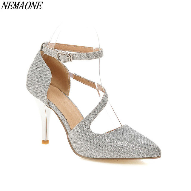 d6738c01d NEMAONE 2018 Silver Bling Fashion Design Women s High Heel Pumps Spring And  Autumn See Through Party Wedding Stiletto Shoes