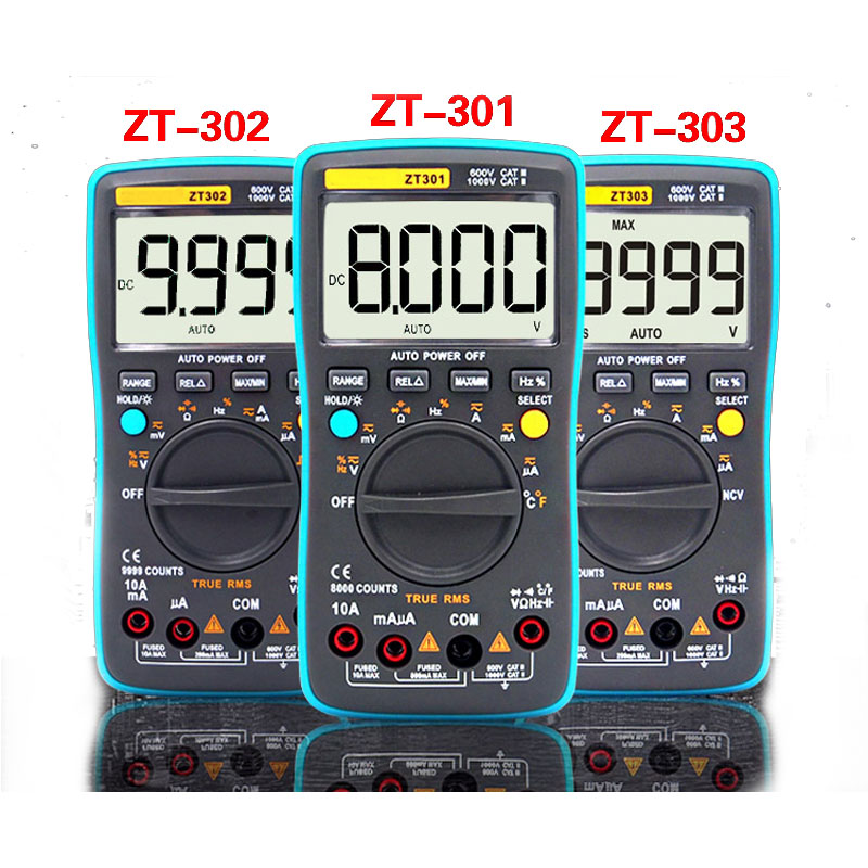 ZT301 ZT302 <font><b>ZT303</b></font> Digital Multimeter 8000 9999 19999 Counts True RMS Multifunction AC/DC Voltage Temperature Capacitance Tester image