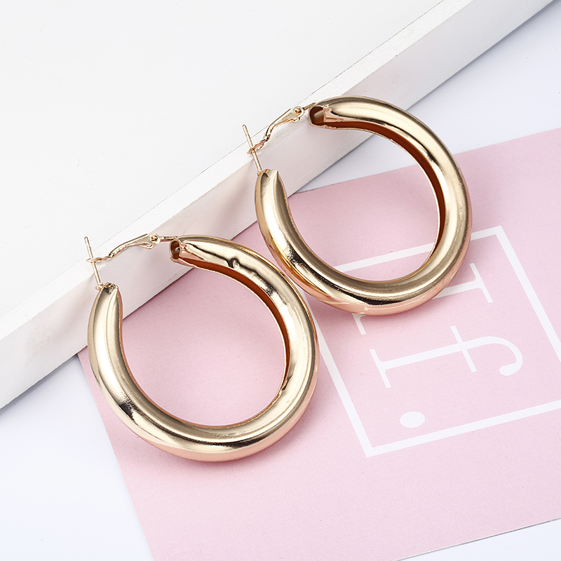 50MM New Fashion Golden Color Hoop Earrings For Women Statement Punk Earrings 2018 Brinco Jewelry Wholesale Gift E0149