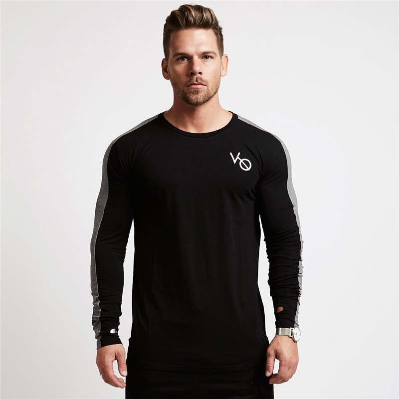 men long sleeved t shirt gyms Fitness-1