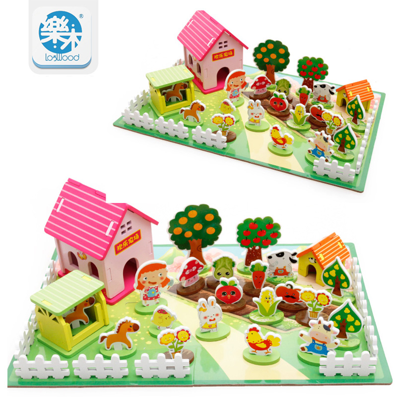 Happy Farm 3D Wooden Puzzles Kids Toys Educational Toys Children Wooden Puzzle Toy Games Containers Zoo Family Montessori Toys cartoon educational puzzle wooden kids toys developmental wood toy montessori jigsaw puzzle speelgoed games for children 60d0037