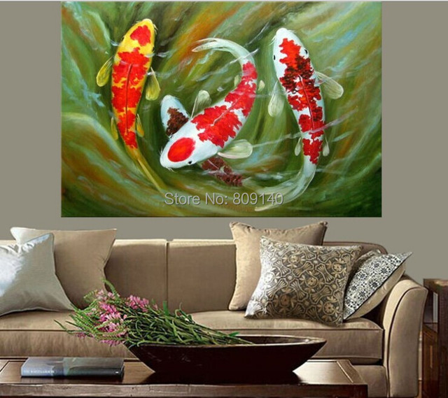 Aliexpresscom  Buy Koi Fish oil painting Feng Shui Painting