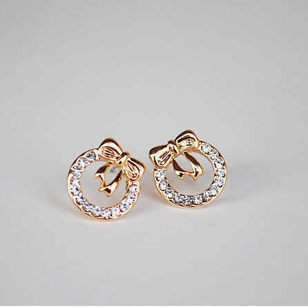 Korean fashion chic compact flash Crystal bow earrings small jewelry wholesale Fashion Earrings Fashion Crystal Earrings