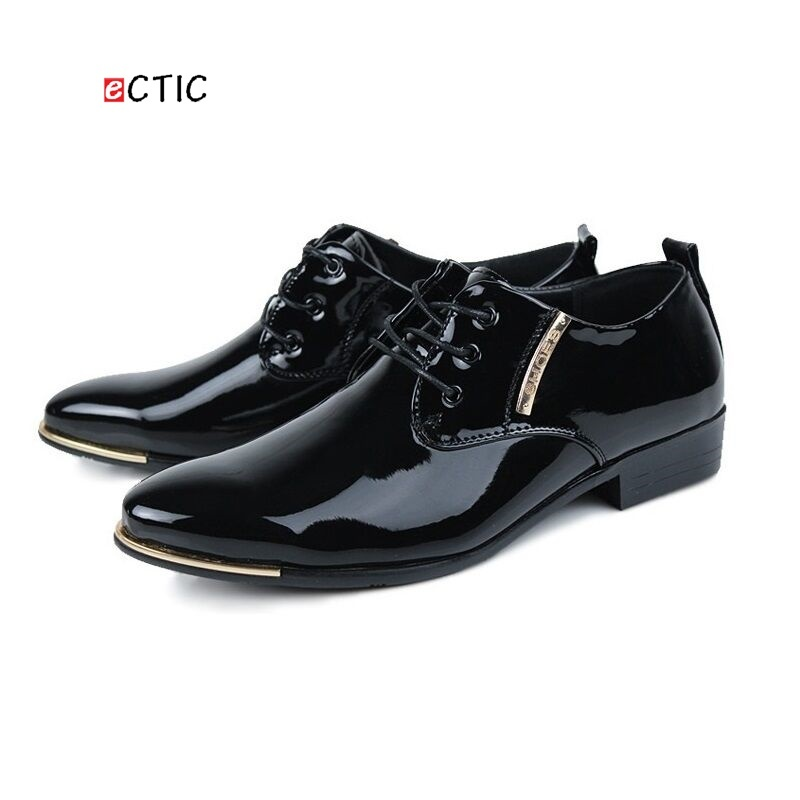 Luxury Brand British Style High Quality Carved Patent Leather Flat Lace-Up Big Size Oxford Men Wedding Shoes Black Purple цены онлайн
