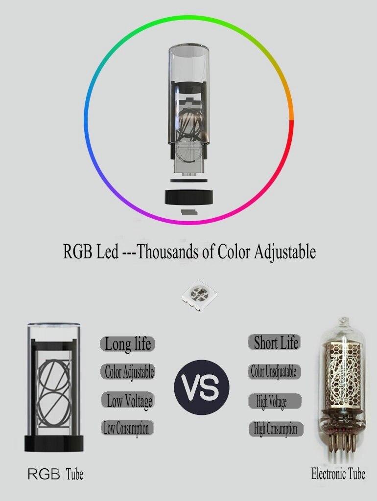 1 Pcs  RGB LED Glow Digital Clock Nixie Tube For Gixie Clock  Not Whole Set