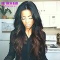 # 1b/#4 Two Tone ombre cheia do laço perucas de cabelo humano onda do corpo parte dianteira do laço perucas de cabelo brasileiro virgem ombre lace wig para preto mulheres