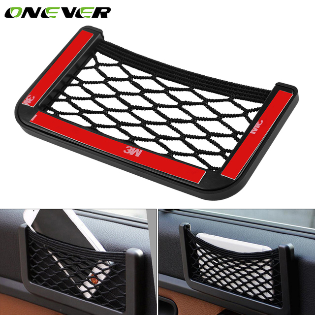 Onever Nylon Car Seat Back Storage Net Bag Universal Auto Car Door Side Storage Elastic String Bag Mesh Pocket Organizer Bags