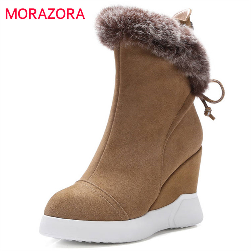 MORAZORA 2018 hot sale ankle boots for women pointed toe suede leather boots lace up warm wedges shoes woman warm winter shoes цена