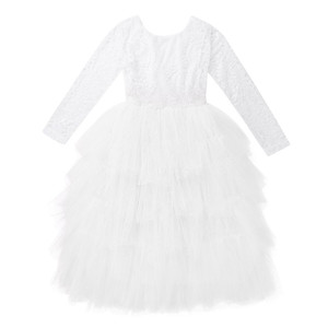 Image 2 - Kids Girls Lace Long Sleeves V shaped Back Tulle Tutu Flower Girl Dress for Wedding Pageant Birthday Party Princess Dress