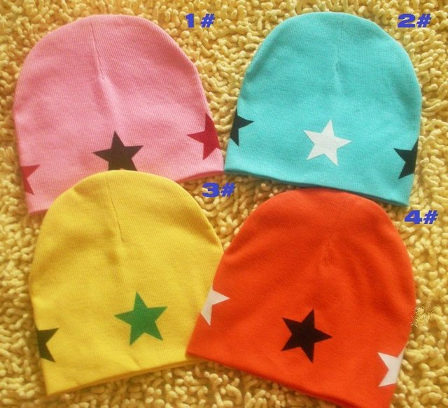 wholesale fashion baby hats infant caps baby cap with star headdress head skull cap beanie cotton kid's hat boy's girl's gift