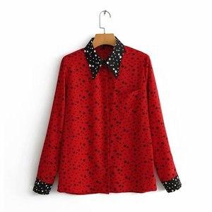 women sweet stars print casual slim patchwork blouse shirts women cute geometric long sleeve blusas business chemise tops LS3173