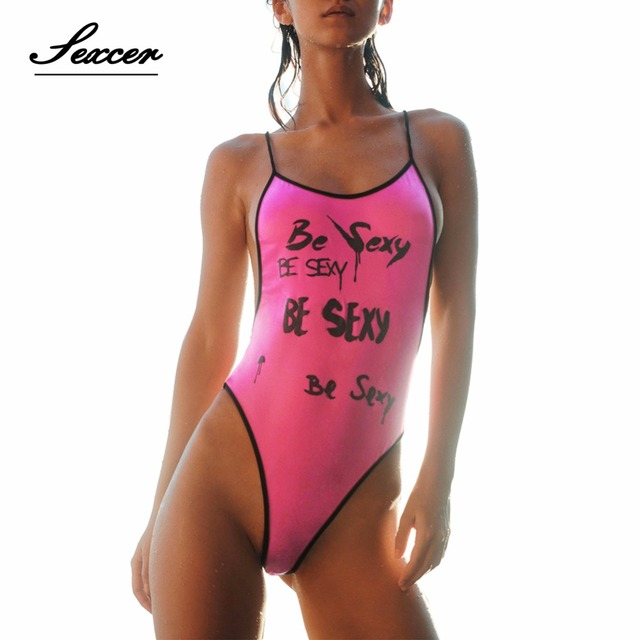 e9b15011a11 Micro High Waist Printted One Piece Swimsuit Women Cut Out Monokini 2017  Letter Print Bathing Suit Pink Black Female Bodysuit